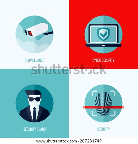 Modern flat vector concepts of security and  surveillance. Icons set for websites, mobile apps and printed materials - stock vector