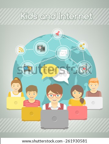 Modern flat vector conceptual illustration of kids with computers sharing multimedia information on Internet. Social media networking infographics. Boys and girls with media icons on globe background - stock vector