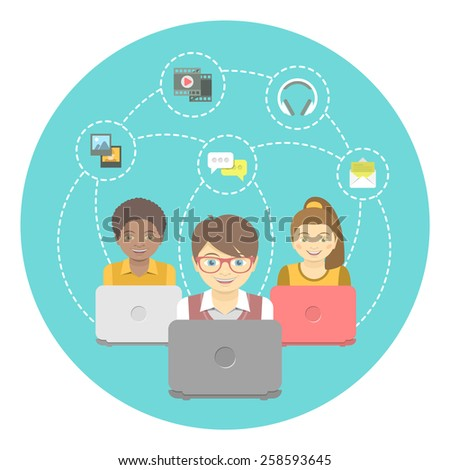 Modern flat vector conceptual illustration of kids with computers that share multimedia information on the Internet. Social media communication concept - stock vector