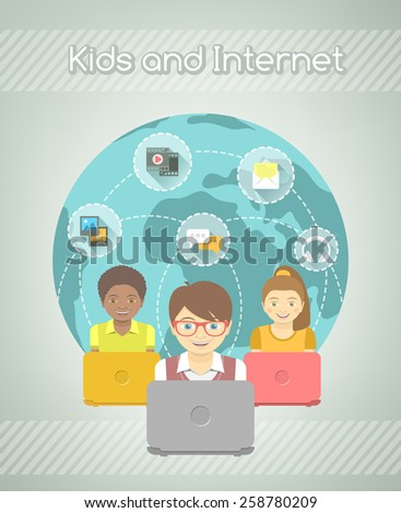Modern flat vector conceptual illustration of kids with computers that share multimedia information on the Internet. Social media communication concept. - stock vector