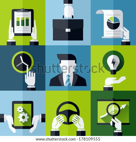 Modern flat vector design elements with hands holding business symbols and tools - stock vector