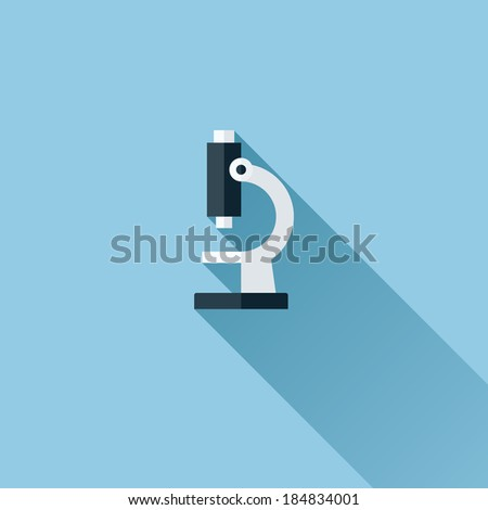 Modern flat vector icon of microscope - stock vector