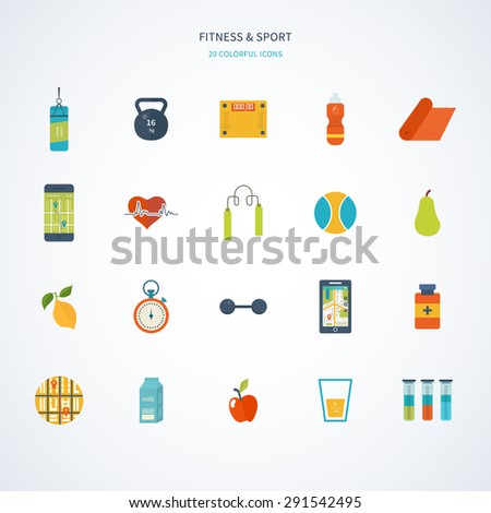Modern flat vector icons of healthy lifestyle, fitness and physical activity. Diet, exercising in the gym, training equipment and clothing. Wellness icons for website and mobile application - stock vector