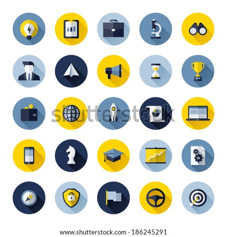 Modern flat vector icons set of SEO website searching optimization and social media marketing  - stock vector