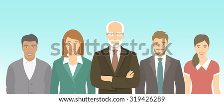 Modern flat vector illustration of business people teamwork, men and women, boss and employees in business suits. Group of business professionals horizontal banner. Start up concept  - stock vector