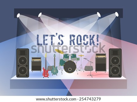 Modern flat vector illustration of rock concert stage with musical instruments and sound equipment. Rock concert organization conceptual background. Rock festival or club party poster - stock vector