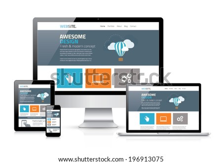 Modern flat web design in responsive website vector - stock vector