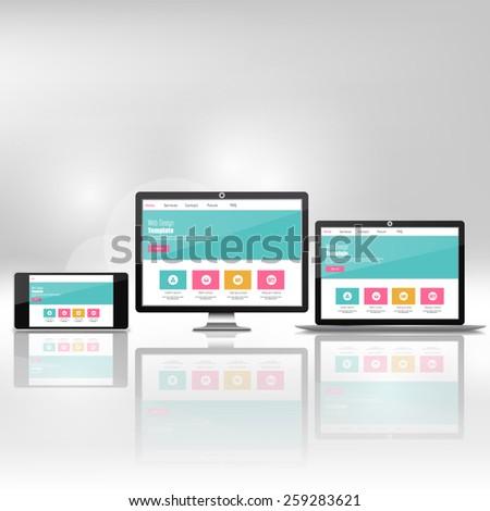 Modern flat web design in responsive website vector - stock vector