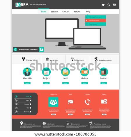 Modern flat website template design Eps 10 - stock vector