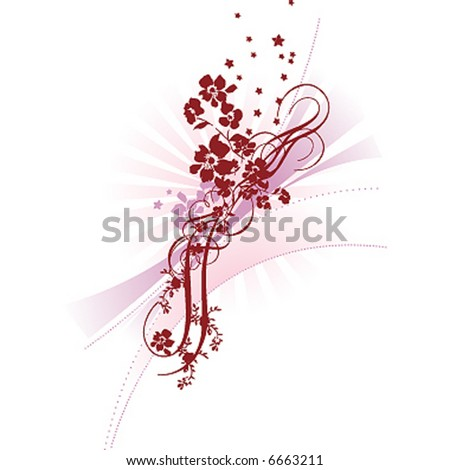 decorative branch tree silhouette red flower stock vector. Black Bedroom Furniture Sets. Home Design Ideas