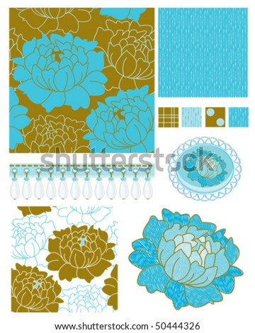 Modern Floral Patterns. Use to decorate cushion covers, make a bed runner or just for backgrounds. - stock vector