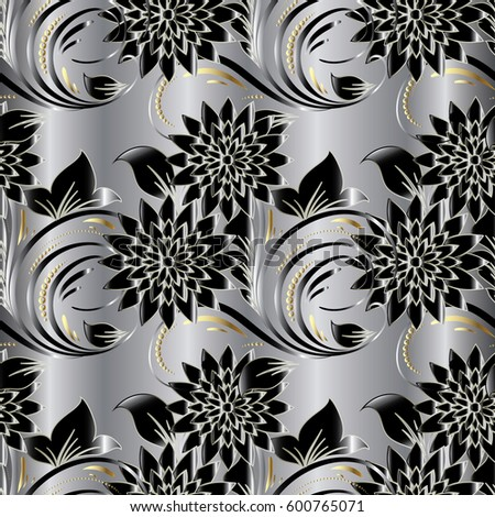 Modern floral seamless pattern flowery silver stok vektr 600765071 modern floral seamless pattern flowery silver background wallpaper illustration with vintage black 3d flowers mightylinksfo