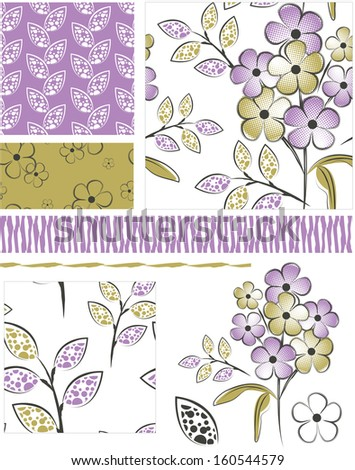 Modern Floral Seamless Vector Patterns and Icons. Perfect for scrap-booking, greeting cards, wallpaper, textiles, stencils and more. - stock vector