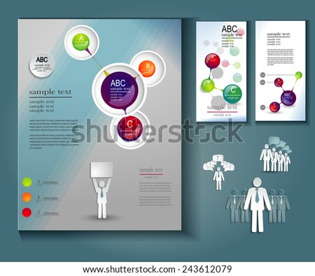 modern flyer design template with icons - stock vector