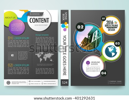 Modern flyers  brochure magazine cover report design templates vector. Abstract circle and gray background in a4 layout.