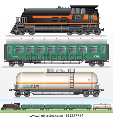 Modern Freight Train Vector Illustration Locomotive Stock ...
