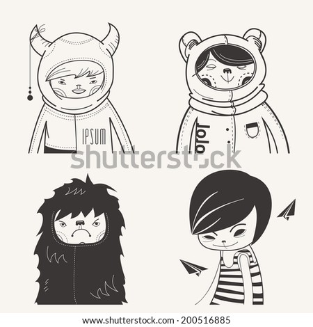 Modern Funny Characters Hipsters - stock vector