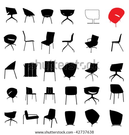 modern furniture silhouette set - stock vector