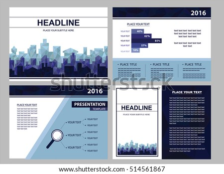 modern futuristic city presentation templates business stock vector, Report Presentation Template, Powerpoint templates