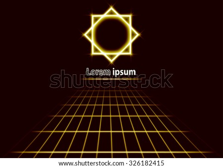 Modern futuristic glittering perspective abstract background with sun logo. Vector illustration. - stock vector