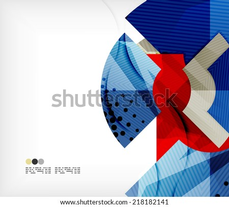 Modern futuristic techno abstract composition, overlapping shapes - stock vector