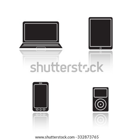 Modern gadgets drop shadow icons set. Consumer electronics glossy symbols. Laptop and tablet pc black cast shadow silhouettes illustrations. Smartphone and mp3 music player. Vector multimedia devices - stock vector