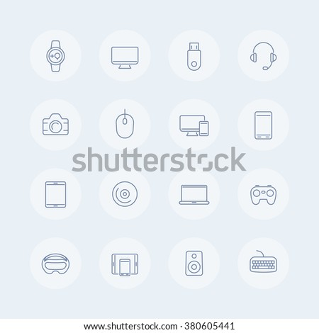 Modern gadgets thin line icons, vr devices, wearable gadget, electronics, vr glasses, gadgets icons, symbols, vector illustration