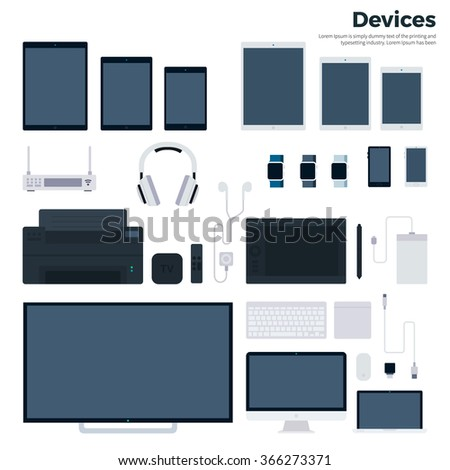 Modern gadgets vector flat illustrations. Up-to-date devices, era of technology concept. Computer, laptop, tablets, phones, smart watches, head-phones isolated on white background - stock vector
