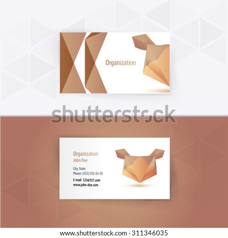 Modern Geometric Animal Business-Card Set | EPS10 Vector Design - stock vector