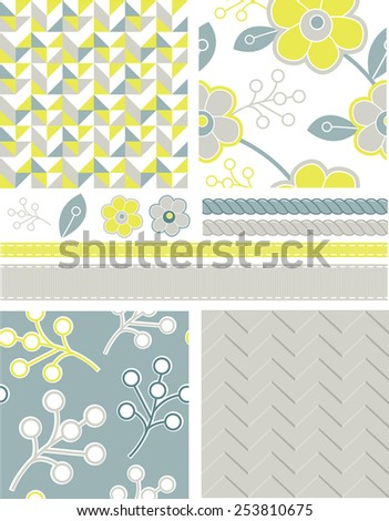 Modern Geometric Seamless Floral Vector Patterns and Icons. Use as fills, digital paper, or print off onto fabric to create unique items. - stock vector