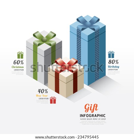Modern gift box infographics elements. Design Vector illustration. Can be used for workflow layout, diagram, infographic, web design. - stock vector