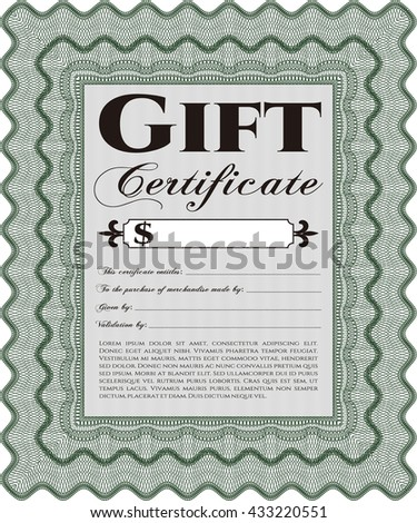Modern gift certificate template.  - stock vector