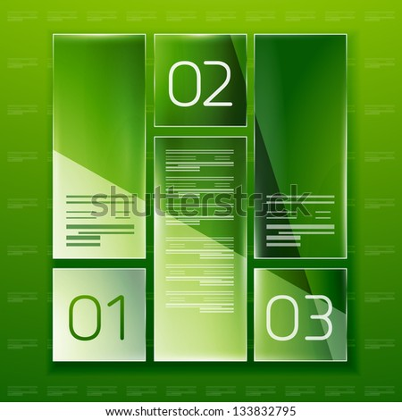 Modern glass geometrical design template. Can be used as infographics, numbered banners, background template, block schemes - stock vector