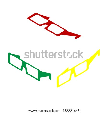 Modern glass sign. Isometric style of red, green and yellow icon.