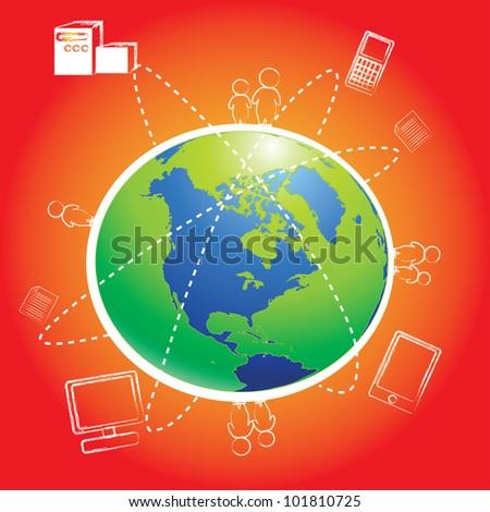 Modern globe connection, Vector - stock vector