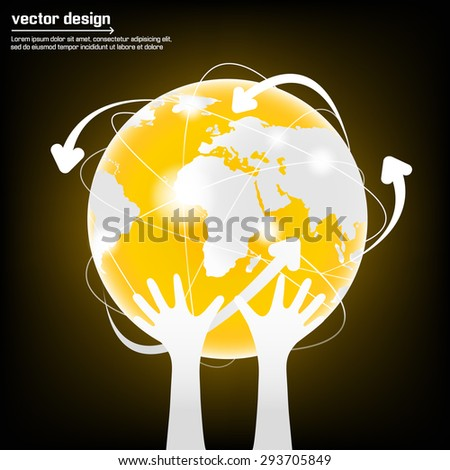 Modern globe connections network design - stock vector