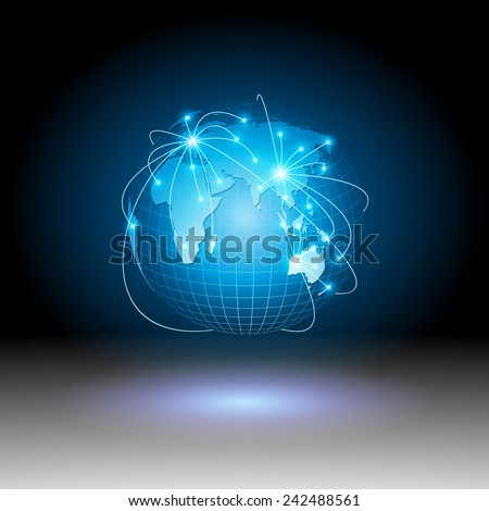 Modern globe connections network design.vector - stock vector