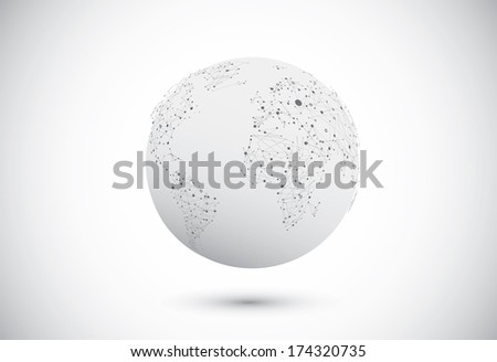 Modern globe connections network design. Vector illustration - stock vector