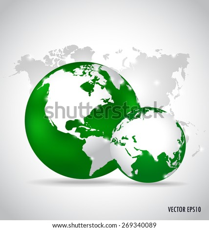 Modern globes and world map, vector illustration. - stock vector