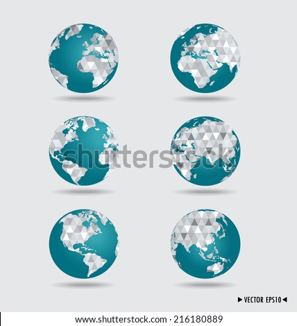 Modern globes. Vector illustration.