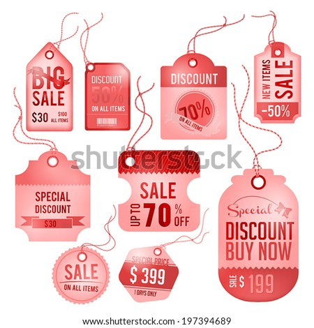 Modern glossy lady badge tag, ticket and labels design for sale promotion with hanging rope and sample text, create by vector