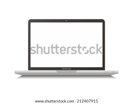 Modern glossy laptop isolated on white