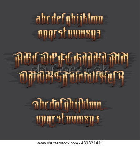 Modern Gothic Style Font. Gold Gothic letters with decoration elements - stock vector