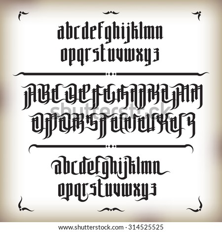 Modern Gothic Style Font. Gothic letters with decorative elements - stock vector
