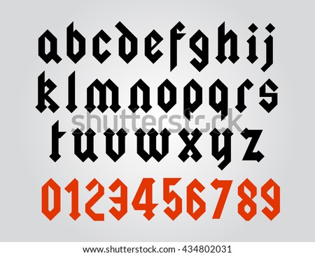 Modern Gothic Style Font Vector Letters And Numbers