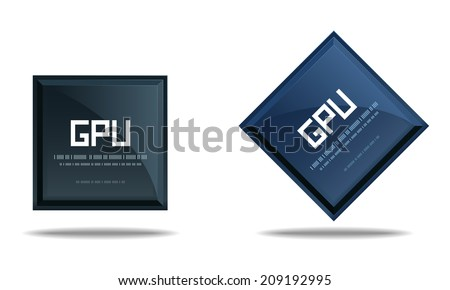Modern GPU Graphics processing unit symbol - Computer chip or microchip icon isolated on white background. Vector illustration - stock vector
