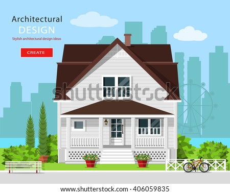 Modern graphic architectural design. Colorful cute house with yard, bench, trees, flowers and city background. Stylish european house. Flat style vector illustration. - stock vector