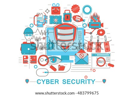 Modern graphic flat line design style infographics concept of Cyber security with icons, for website, presentation and poster