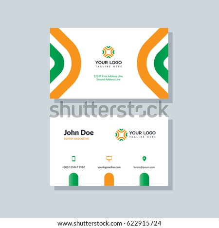 Modern green orange business card template stock vector royalty modern green and orange business card template in flat design abstract background personal plain friedricerecipe Image collections