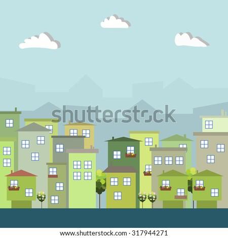 Modern Green City, Think Green Concept - stock vector